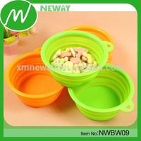 food grade colorful silicone foldable dog travel bowl