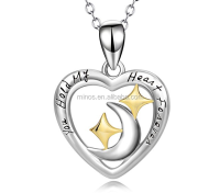 Fashion Design Moon and Star Jewelry Angel caller Heart Pendant Necklace