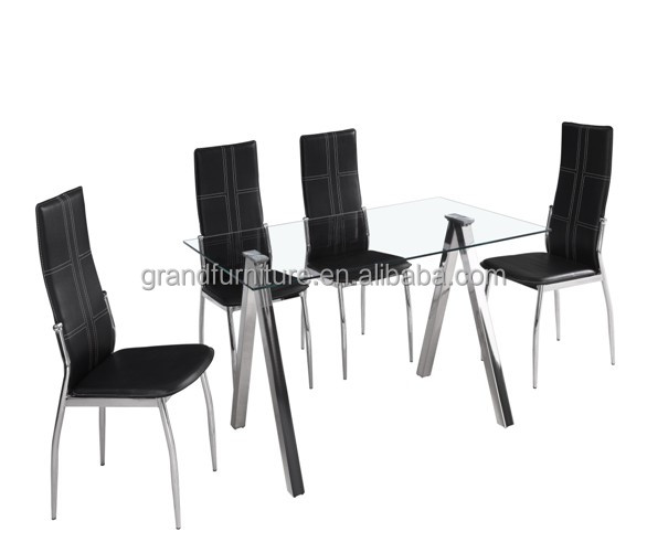 Glass Dining Set With 4 Black Faux Leather Chairs dining table