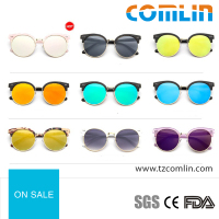 China colorful sunglasses custom metal logo with round frames 2016