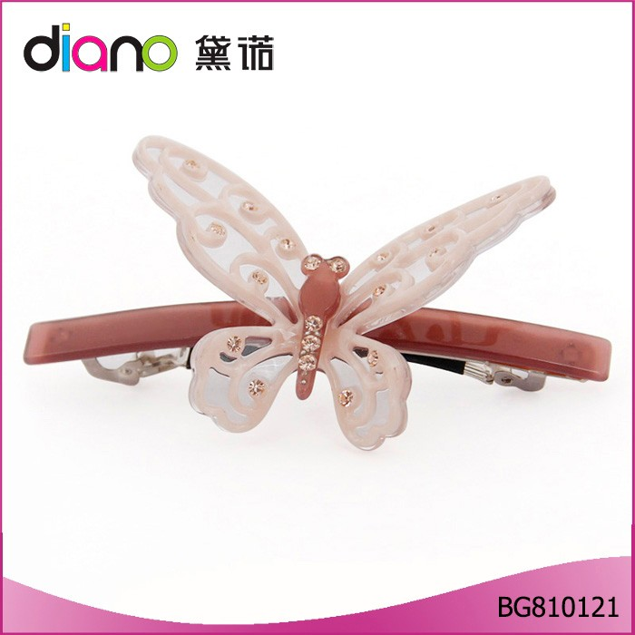New Design Acetate Cute Butterfly Girls Hair Clips