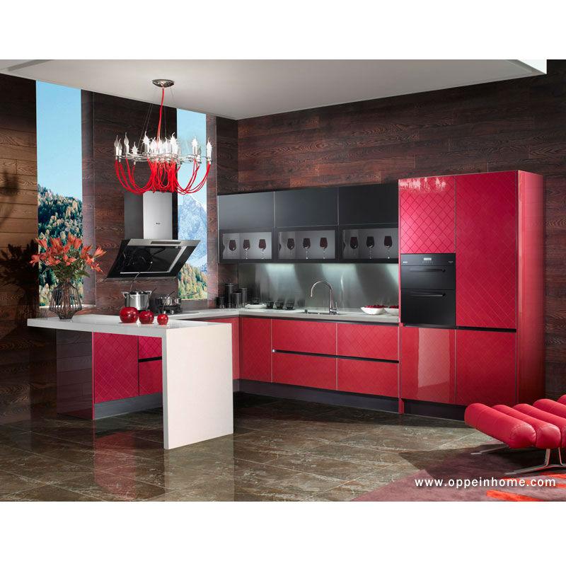 Guangzhou import red acrylic finish kitchen cabinet for Acrylic kitchen cabinets