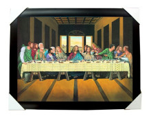 Factory stock free sample 3d pictures of jesus for Last supper with frame for home decoration
