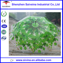 Made In China Unique Design 23inchx8k Walking Straight Auto Open Leaves Print PVC Transparent Umbrella