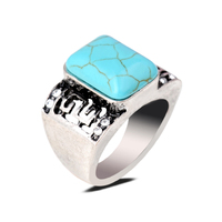 Stylish Men's Square Turquoise Stone Vintage Ring Band Silver Ring Jewelry Cabochon Stone Rings