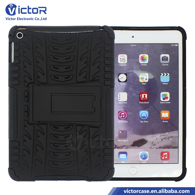 Cell phone factory strong rugged texture PC TPU with kickstand case for ipad mini 4