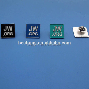 Square shape enameled JW. ORG logo badge lapel pin for Jehovah's Witnesses with butterfly clutch