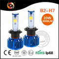 High power led headlight bulb h7 30w COB chip super bright IP68 high canbus driver non-polarity 30000hrs