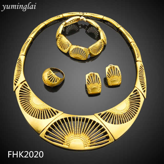 High quality 18k gold plated jewelry dubai set