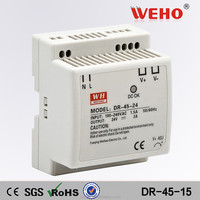 Manufacturer dinrail 15v dc input led driver 45w 2.8a din rail power supply