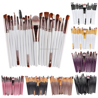 15pcs Newest products purple synthetic hair makeup brush set/cosmetic brush set with with black silk net