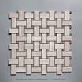 "1""x2"" Wood Light Grain Mixed Athens Grey Marble Basketweave Mosaic Tile"