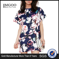 MGOO OEM Shop Wholesaler Import Women Short Sleeve Flower Printed A-line Party Dress Fashion Brand Casual Dress 1007