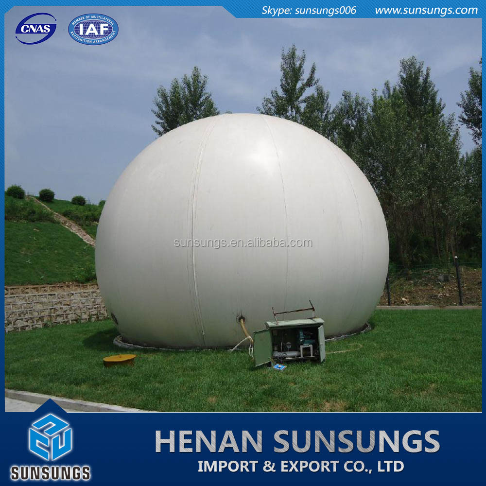 Double membrane biogas storage tank for biogas project
