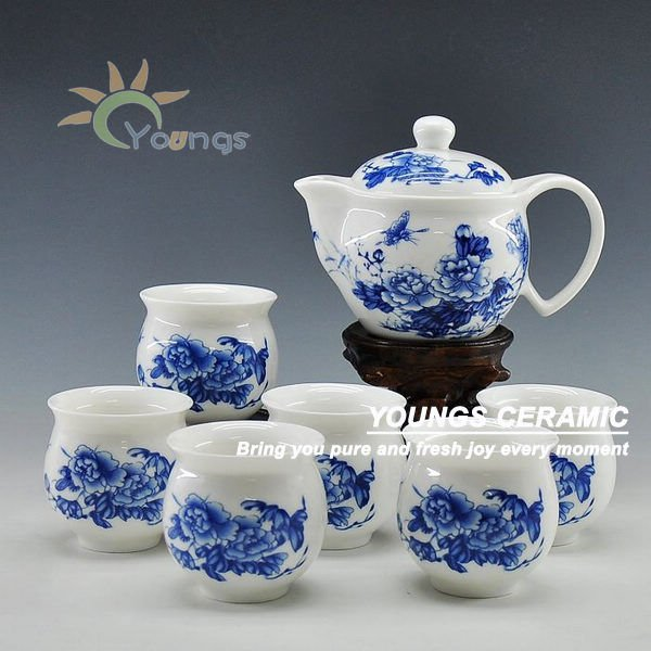7 pcs blue and white ceramic tea and coffee sets