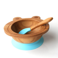 Bamboo organic baby suction bowl with feeding spoon set