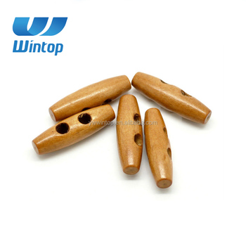 hot sale washable light coffee wood toggle buttons for garments