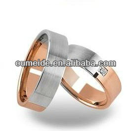 Flat Profile Half Plated Satin Finished Mens Western Wedding Bands