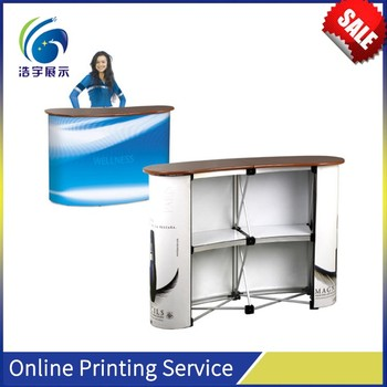 Custom Trade Show Strong Plastic Two iron Poles Standing Header Board Exhibition Promotion Table Display