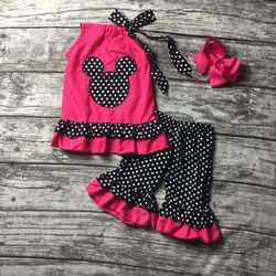 2016 summer shorts girlshot pink minnie clothes girls sleeveless outfits polka dot shorts girls boutique outfits with hairbows