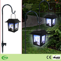 antique glede design plastic lantern with metal stake solar garden light for garden decoration