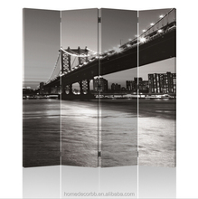 illuminated Led room divider Black and white Brooklyn Bridge canvas printing light up for home decorative art work factory