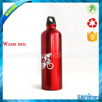 Red coated Aluminum water bottle with straw lid