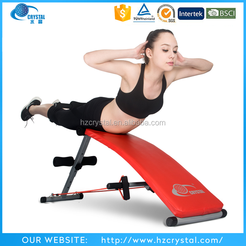 CRYSTAL SJ-006 Cheap home exercise equipment adjustable ab bench sit up bench/ incline bench press with rope