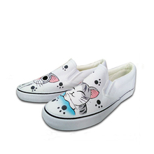 2017 female cut cat printed canvas shoes single shoes casual flat shoes