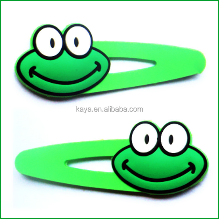 Rubber pvc decorative hair clips with frog shape