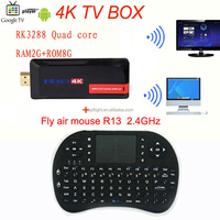 MK809 4K Android RK3288 Quad Core Bluetooth WIFI USB TV Stick Mini PC TV Box Codi+R13 Fly Air Mouse Remote Controller