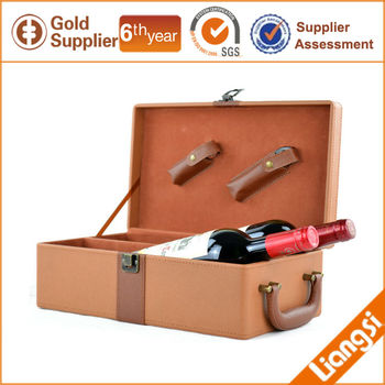 Two Bottles Set Leather Wine carrier and Wine Packaging box