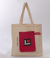 Promotional nature color Eco Friendly Standard size cotton bag with quickly deliver/canvas tote bag with outside pockets