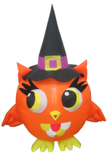 Inflatable lighted Halloween cute owl wear a witch hat