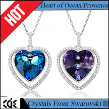 CDE Guangzhou China crystals from Swarovski factory custom logo 2017 fashion jewelry blue / purple heart pendant necklace