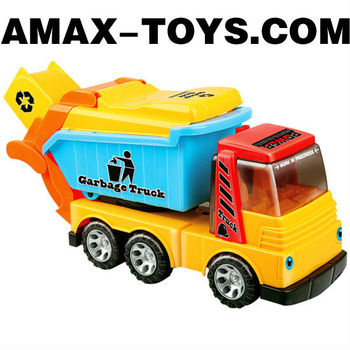 fct-15820186 friction truck Cartoon friction garbage truck for kids