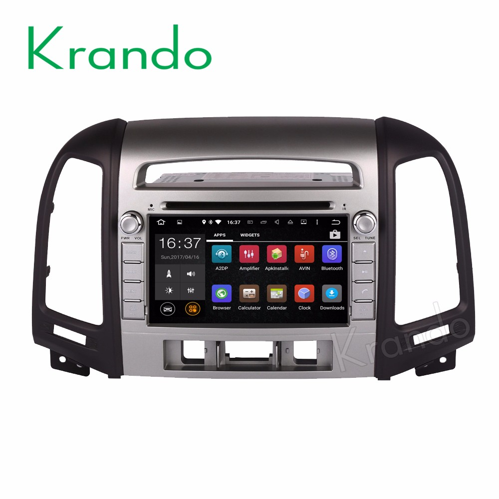 Krando Android 7.1 car radio gps dvd player navigation system for hyundai santa fe 2006-2012 3 hole WIFI 3G BT DAB+ KD-HY703