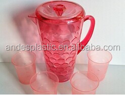 Transparent plastic water pitcher with 4 cups in set