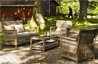 Living Room or Gardern Outdoor Rattan Furniture Antique Style Dining Coffee Set