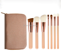 JDK professional makeup tools high quality 7 pcs synthetic wool makeup brushes with cosmetic bag