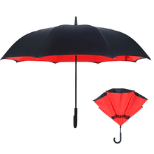 Upside Down Umbrella Windproof by, Double Layer Inverted Umbrella Waterproof for Car Rain Outdoor