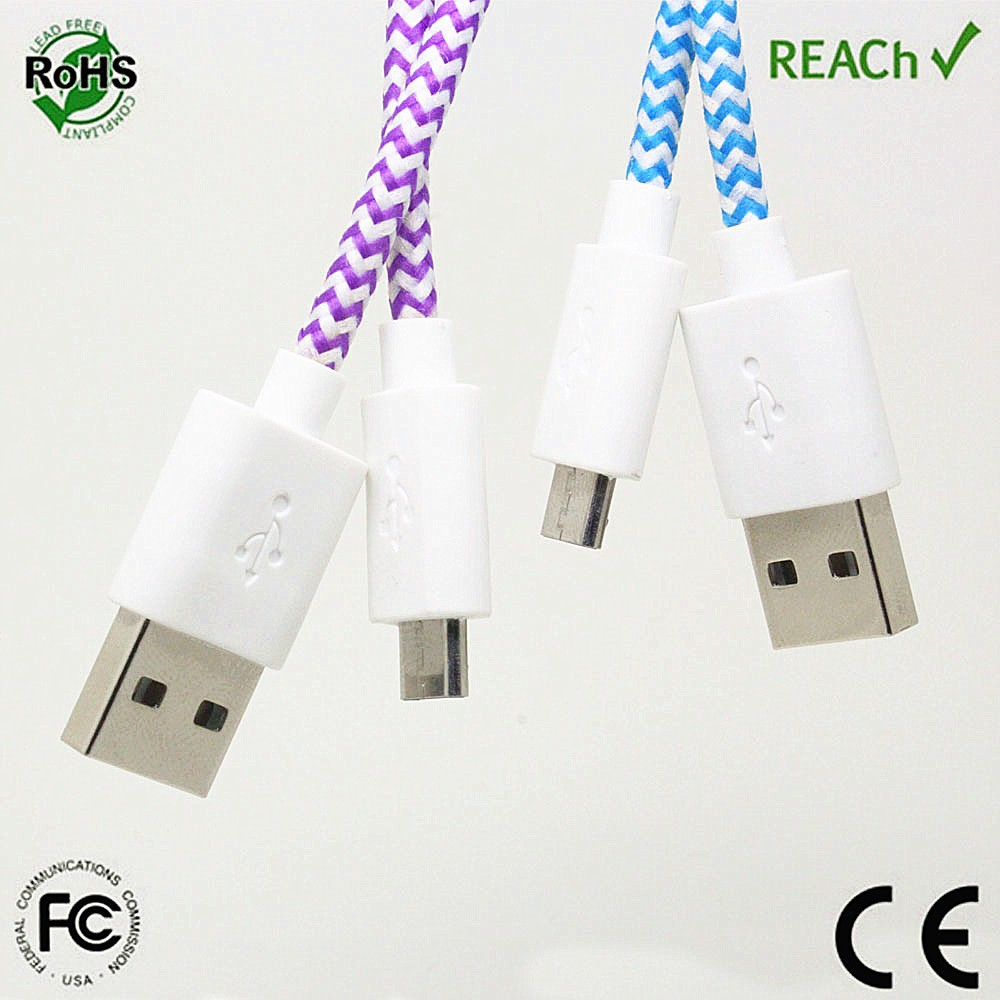 Reversible braided multi android mobile phone magnetic charging data mciro usb cable