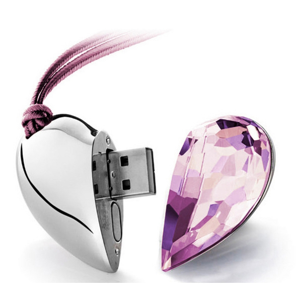 Heart Style Usb Memory Customized Logo Crystal USB Flash Pen Drive 500gb