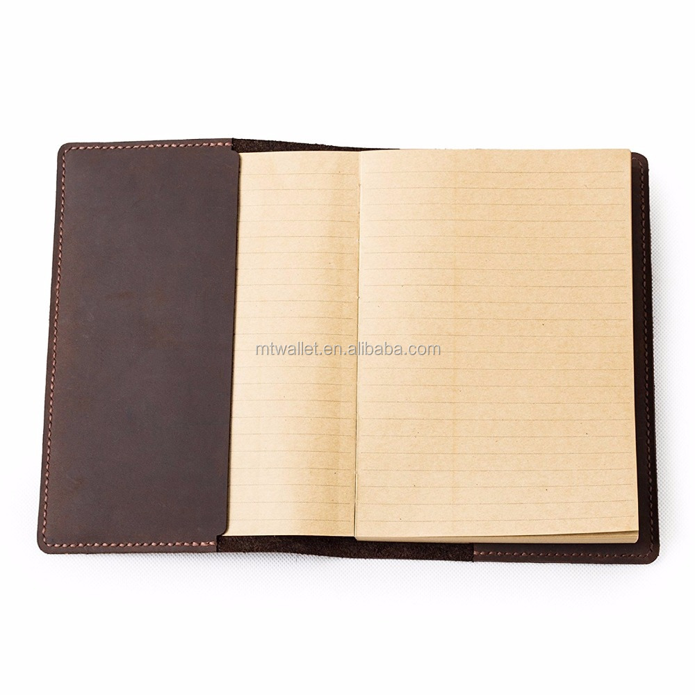 Handmade refillable genuine leather travel journal lined craft paper notebook A5 cover brown