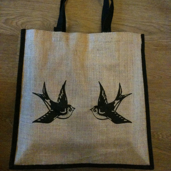 Large jute cute vintage tattoo tote shopping bag