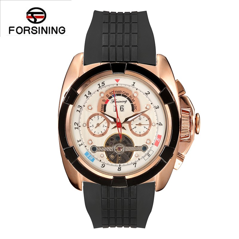 top luxury forsining automatic self wind watch mens sports tourbillon date week function silicone military mechanical watch hot