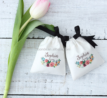 Personalize custom cotton bag drawstring pouch wedding favor bags