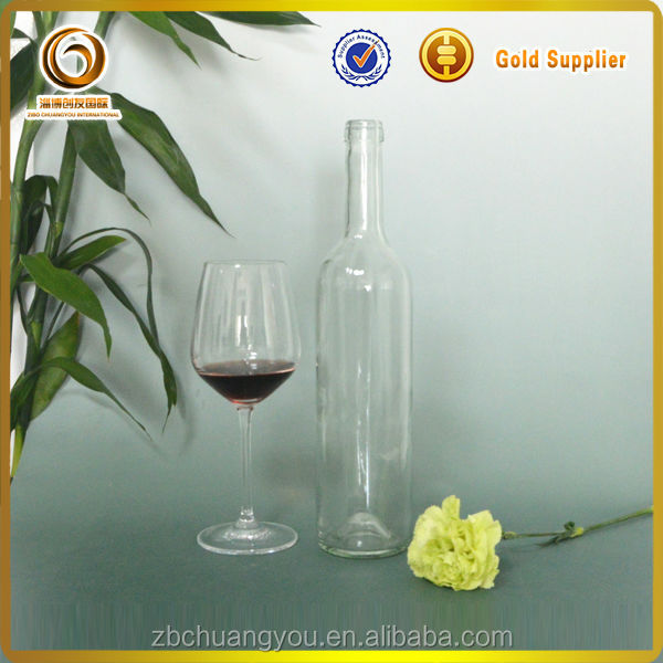 750ml decal empty clear red wine airtight glass bottle