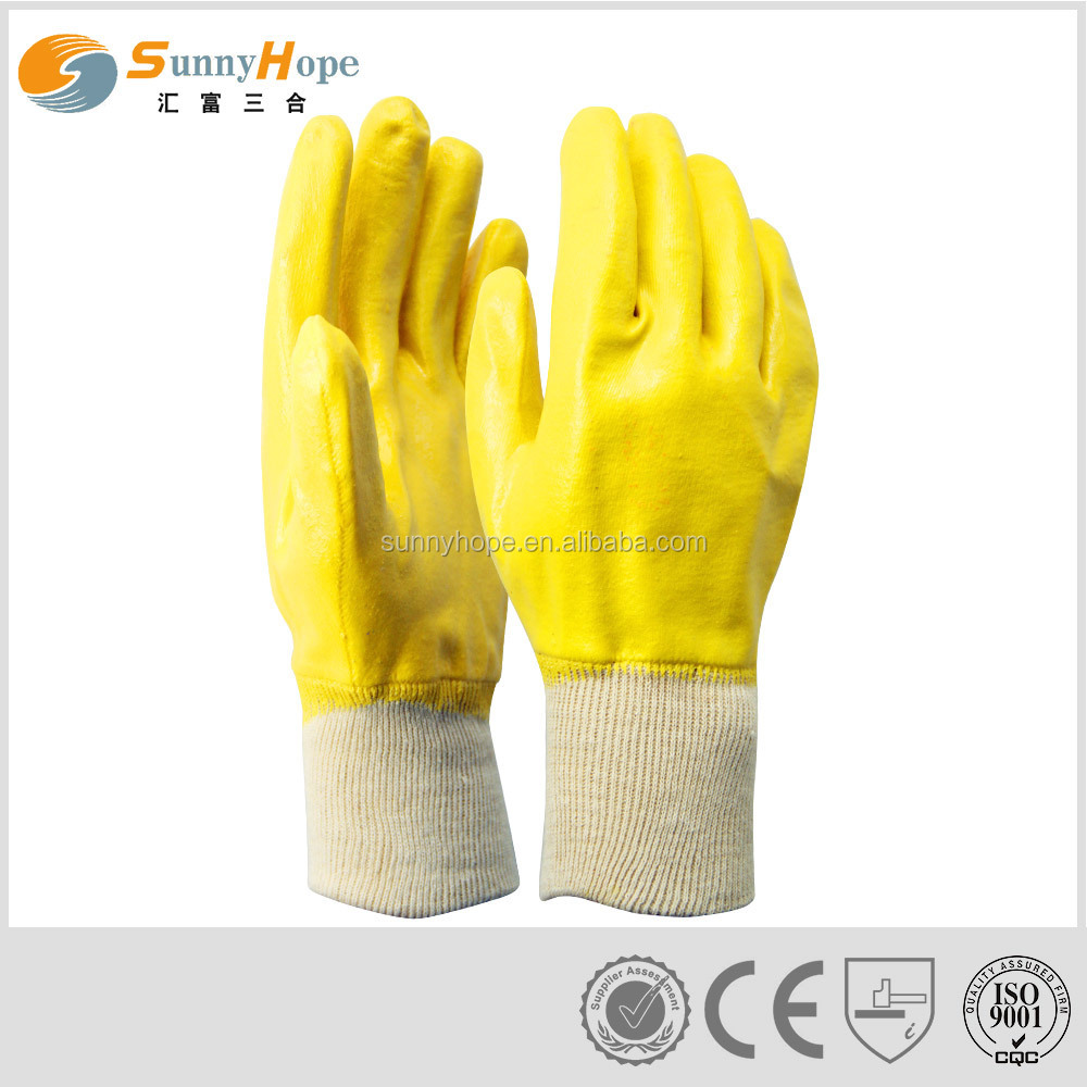 Durable Knit wrist yellow nitrile coated gloves