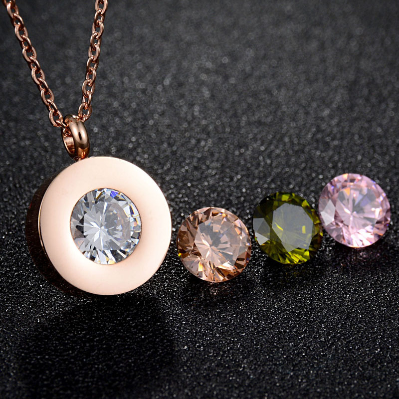 Top Trendy Stainless Steel Large Interchangeable Multi Colored CZ Cubic Zircons Complicated Patterns Necklace